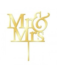 image: Mr & Mrs Gold Mirror acrylic wedding cake topper