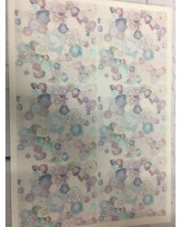 image: Wafer paper sheet Roses Blue/purple tones