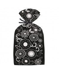 image: Treat bags Black & White Flowers PK 20