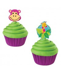 image: Jungle Animal Safari or Zoo Giraffe & Monkey face cupcake picks