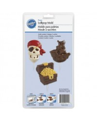 image: Pirate skull ship & treasure chest lollipop chocolate mould