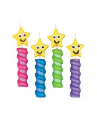 image: Rainbow Chunky Stars candles pack 4