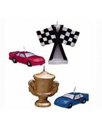 image: Race Cars candles set 4 trophy racing cars & checkered flag