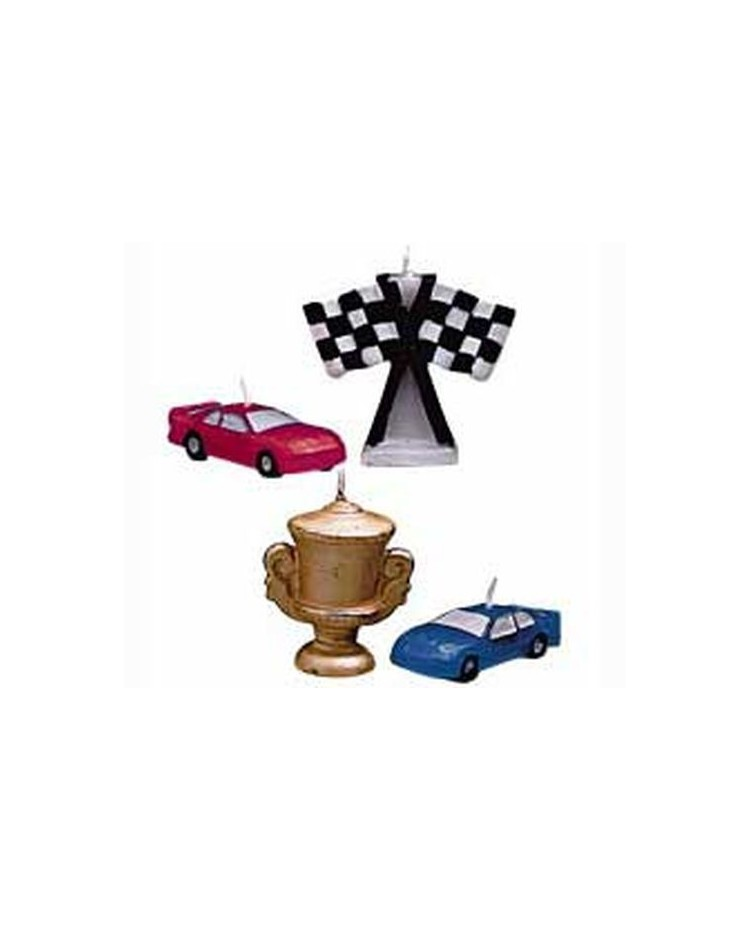 Race Cars Candles Set 4 Trophy Racing Cars Amp Checkered Flag