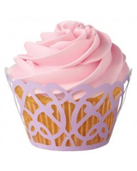image: Lavender purple filigree lace scrolls cupcake wrappers