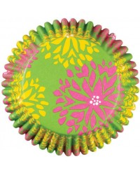 image: Colourcups foil (no grease cupcake papers) Floral green pink yel