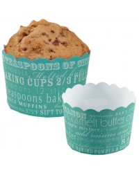 image: Fun recipe straight sided cupcake papers baking cups TEAL