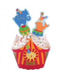 image: Big Top Circus Elephant Lion Seal cupcake wrappers & pix set