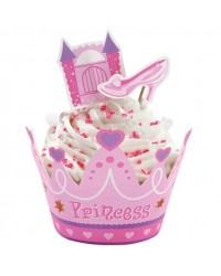 image: Pink Princess Castle & slippers cupcake wrappers & pix set
