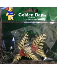 image: Gold Christmas Holly cake topper set 2