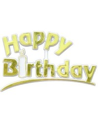 image: Happy Birthday Gold Plaque cake topper #2