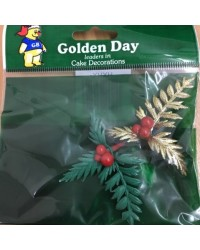 image: Green & Gold Christmas Holly cake topper set 2