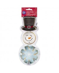 image: Snowman and Snowflake set 3 cookie cutters with top hat