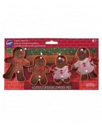 image: Gingerbread family cookie cutters man woman girl & boy