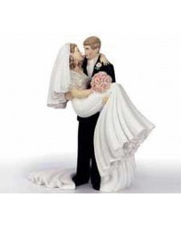image: Threshold of happiness Bride & Groom wedding cake topper