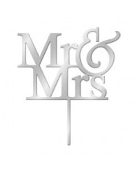 image: Mr & Mrs Silver Mirror acrylic wedding cake topper