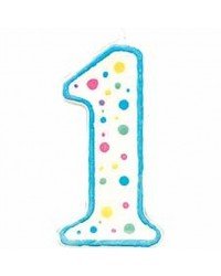 image: Blue border #1 numeral Polka Dot Sprinkles number candle