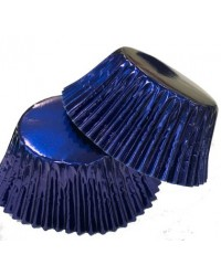 image: Foil baking cups Navy Blue mini cupcake papers