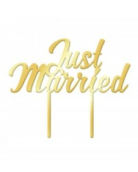 image: Gold Mirror Acrylic cake topper pick Just Married