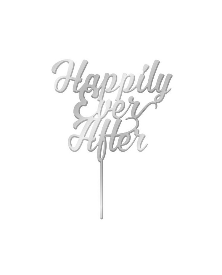image: Silver Mirror Acrylic cake topper pick Happily ever after