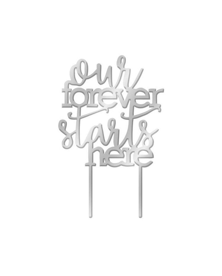 image: Silver Mirror Acrylic cake topper pick Our Forever Starts Here