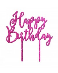 image: Happy Birthday Pink Glitter acrylic topper