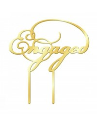image: Gold Mirror Acrylic cake topper pick Engaged