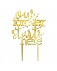 image: Gold Mirror Acrylic cake topper pick Our Forever Starts Here