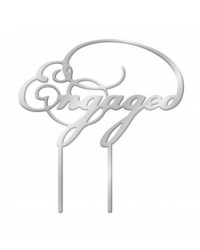 image: Silver Mirror Acrylic cake topper pick Engaged