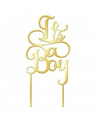 image: It's a Boy Gold Mirror Acrylic cake topper pick