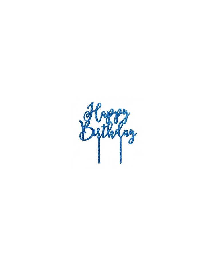 image: Happy Birthday Blue Glitter acrylic topper