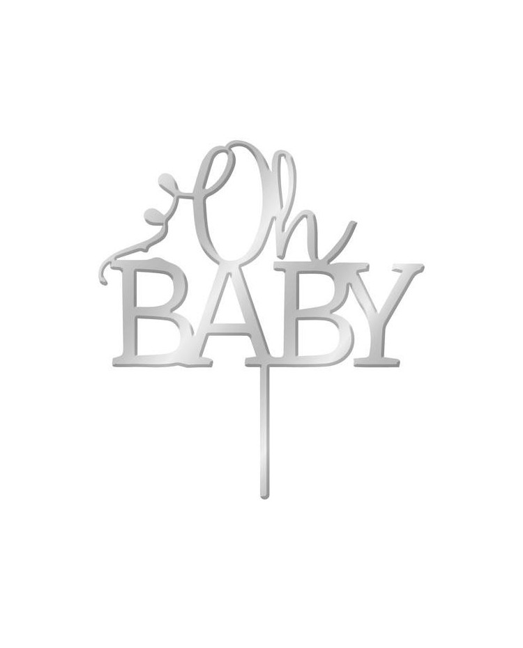 image: Silver Mirror Acrylic cake topper pick Oh Baby
