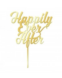 image: Gold Mirror Acrylic cake topper pick Happily Ever After
