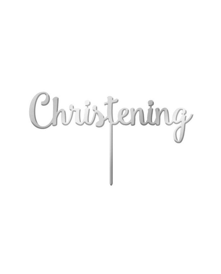 image: Silver Mirror Acrylic cake topper pick Christening