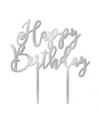 image: Happy Birthday Silver Mirror acrylic topper
