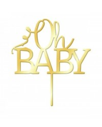 image: Gold Mirror Acrylic cake topper pick Oh Baby