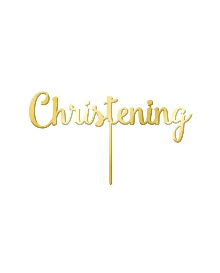 image: Gold Mirror Acrylic cake topper pick Christening