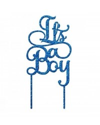 image: It's a Boy Blue Glitter acrylic topper