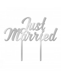 image: Silver Mirror Acrylic cake topper pick Just Married