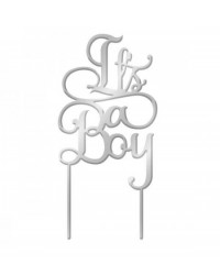 image: It's a Boy Silver Mirror Acrylic cake topper pick