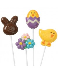 image: Easter lollipop chocolate mould Bunny chick egg and daisies