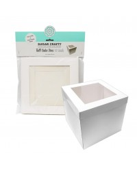 Cake box Tall white window 19.5cm/8""