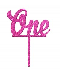 Number One 1 Pink Glitter Acrylic cake topper pick