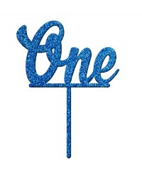 Number One 1 Blue Glitter Acrylic cake topper pick