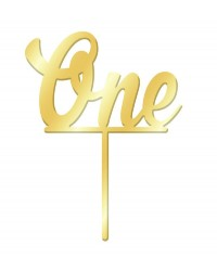 Number One 1 Gold Mirror Acrylic cake topper pick