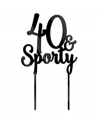 40 & Sporty Black Acrylic Cake topper