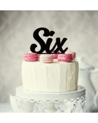 Number Six 6 Black Acrylic cake topper pick