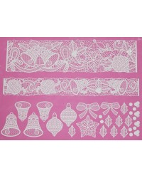 Cake lace Claire Bowman mat Bells and Bows