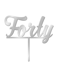 Number Forty 40 Silver Mirror Acrylic cake topper pick