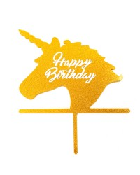 Unicorn head cake topper Gold Happy birthday